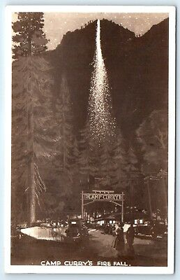 Postcard CA Camp Curry's Fire Fall Vintage RPPC View E4