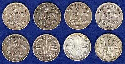 Australia, 8x Silver Threepence Coins, 3d, 1910-51, Different Dates (Ref. t2304)