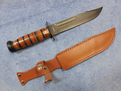Ka-Bar Type U.s. Marine Knife With Leather Sheath