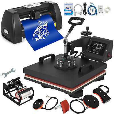 "5 in 1 Heat Press 15""x15"" 14"" Vinyl Cutter Plotter Business Printer Sublimation"
