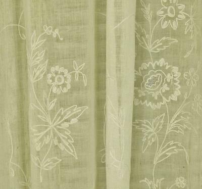 Gorgeous Antique French Fine Muslin, Cornely Lace, Long Curtain / Panel 19th C