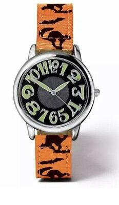 Spooky Halloween Watch With Ghost Tombstone Pumpkin Autumn Leaves