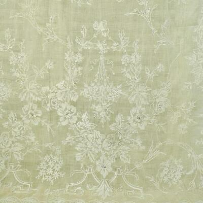 Fabulous Antique French Fine Muslin, Cornely Lace, Long Curtain / Panel 19th C