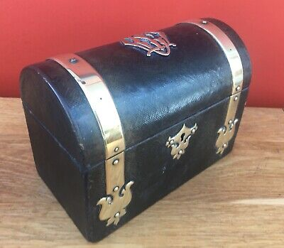 Good Quality Victorian Brass Mounted Leather Letter / Writing / Stationary Box