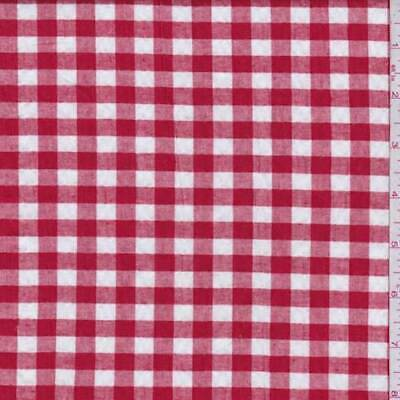 Red/White Gingham Check Cotton Seersucker, Fabric By The Yard