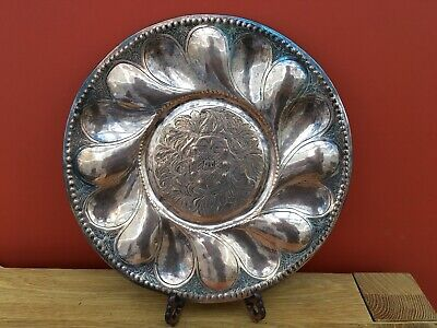 Unusual Arts & Crafts Copper Dish / Charger With Engraved Armorial