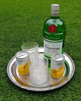 """11"""" round vintage Sheffield silver plate drinks chased gallery serving tray"""