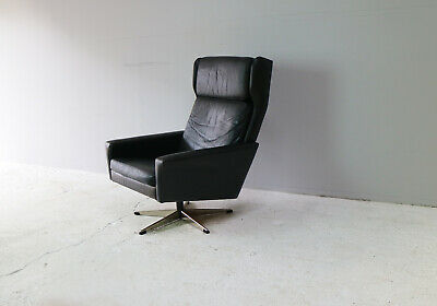 1960's Danish mid century modern leather lounge chair