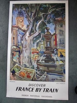 Original Vintage 1957 Andre Planson Poster DISCOVER FRANCE BY TRAIN Railroads