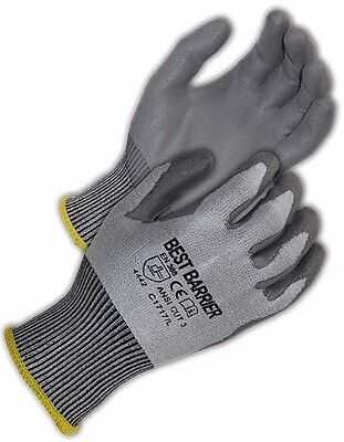 Ce Cut Resistant Level 4 (Ansi Cut Level 3) Grey Pu Palm Coated Gloves, 48 Pairs