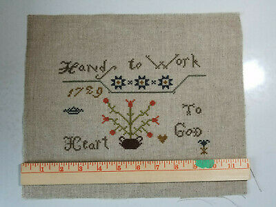 Stacy Nash completed cross stitch Hands to Work Heart to God you finish