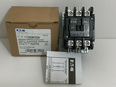 New! Eaton Definite Purpose Contactor C25Dnf330A Coil: 110/120 Volt 50/60 Hz