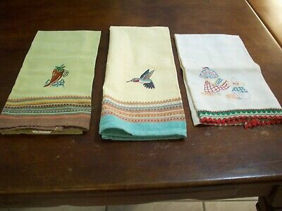 Dish Towels Vintage Age Stains.  Hummingbird, Pepper, Mexican Dancer (#243)