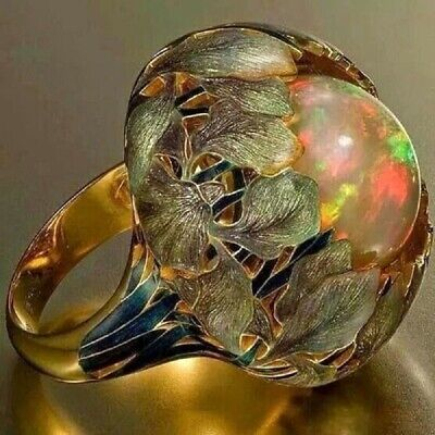 Women Men Cool 18K Gold Filled Ring Opal Jewelry Sun Moon Forest Gift Size 6 SNO