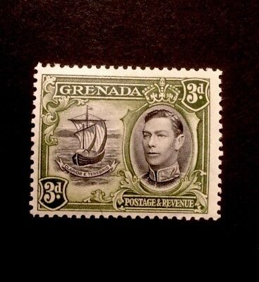 Grenada SG 158 3d Black & Olive Green KGVI  P12.5 Lightly Mounted Mint