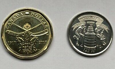 2017 STANLEY CUP 125th + Toronto Maple leafs 100th Canada coins 25c + loonie UNC