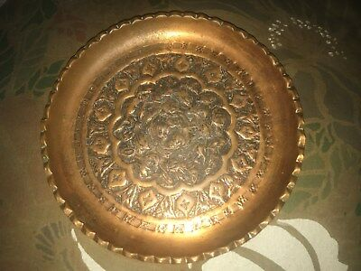 """Arts & Crafts Antique Hammered Embossed Copper Plate Tray 8 3/4"""" Decor"""