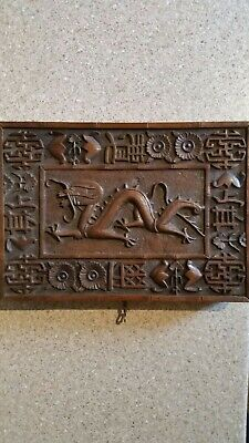 Oriental Vintage Carved Wooden Box with Lockable Key