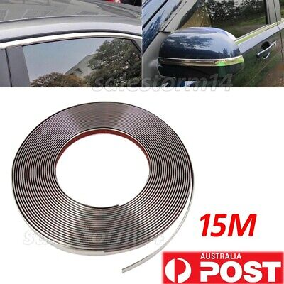 AU 15M 10MM Chrome Moulding Trim Strip Car Door Edge Scratch Protector Cover OZ