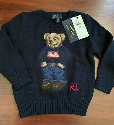 RALPH LAUREN TODDLER BOYS ICONIC POLO BEAR FLAG SWEATER, 3T, NEW WITH TAGS -Navy