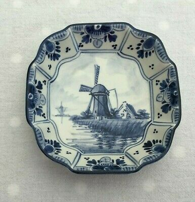 Vintage Delft Blue Square Pottery Dish Hand Painted Windmill G.S Holland JC17