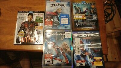 5 Blu-ray 3D Movies Ant-man, Thor, Avengers,, The Amazing Spiderman 1&2