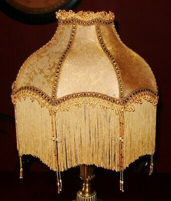 """Mitford. Victorian Traditional Vintage Lampshade. Pale Gold Silk Damask 14"""""""