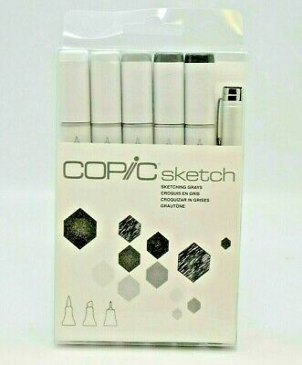 Copic Markers 6-Piece Sketch Set, Sketching Grays. BRAND NEW.