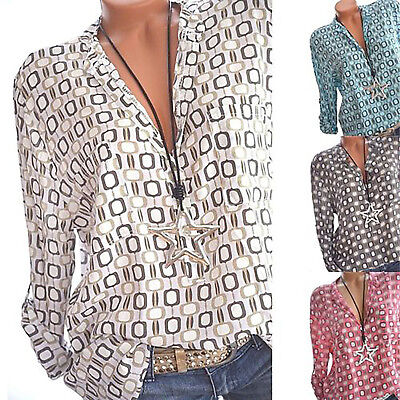Women V Neck Summer Loose Blouse Ladies Long Sleeve Spotted Tops Plus Size Shirt
