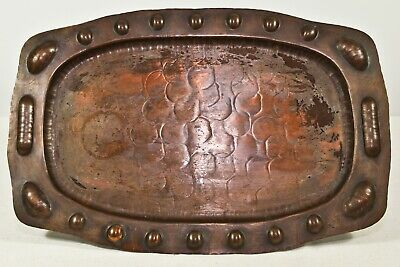 RARE ARTS & CRAFTS MOVEMENT COPPERCRAFT #204 HAMMERED COPPER TRAY RiCH PATINA