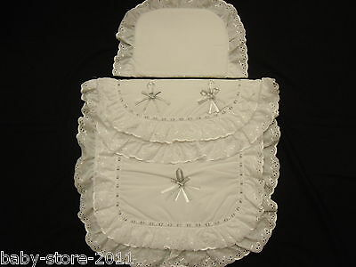 Beautiful  Pram  Quilt  and  Pillow  Set   WHITE / SILVER WITH NAME EMBROIDED ON