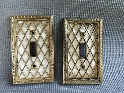 Vintage American Tack & Hardware (2) Light Switch Covers Diamonds Lattice