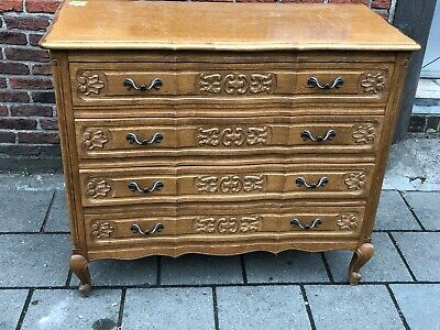 Divine Vintage French Louis XV Ornate Carved Oak Chest of Drawers