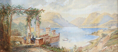 A Fine Antique Water Colour Painting: Serene Italian Lake, Gilt Frame