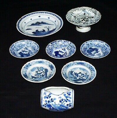 8x Chinese Qing B&W Bowl Plate Footed Tray & Bird Feeder Mixed Lot Reign (RgR)
