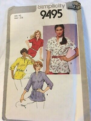 Simplicity Women's Pullover Tunic in Half Size #9495 Pattern