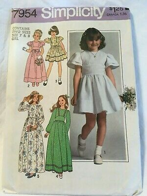 Simplicity Girls Dress in Two Lengths #7954 Pattern