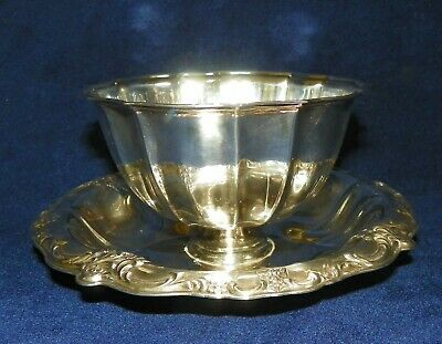 Vintage Silverplate Bowl Attached Underplate Floral Design