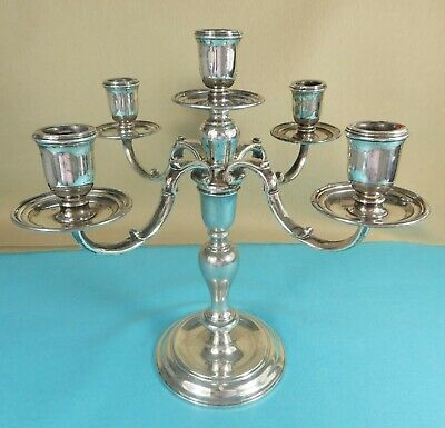 Superb Sterling Silver 5 Light Candelabra Converts 1 or 3 Light CJ Vander 1964