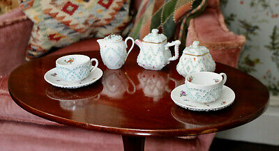 Beautiful Antique c19th Miniature Toy Tea Set, Applied Flowers, Butterflies