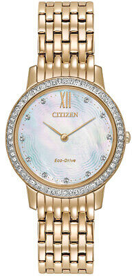 Citizen Eco-Drive Women's EX1483-50D Crystal MOP Dial Rose Gold-Tone 29mm Watch