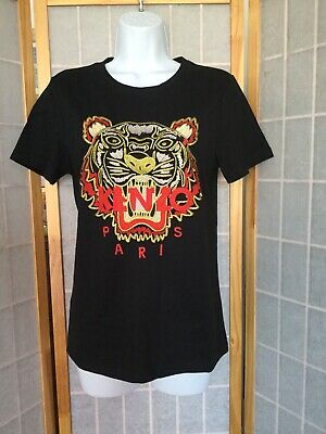 2e0d171b Kenzo Women's 3D Embroidered Tiger T-Shirt Top Fitted Black Women Size M  NWOT