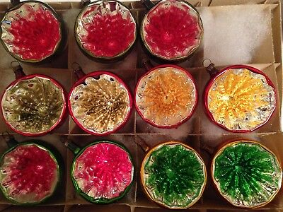 Box Antique COLORFUL DEEP INDENT MERCURY GLASS REFLECTOR Xmas Ornaments GERMANY