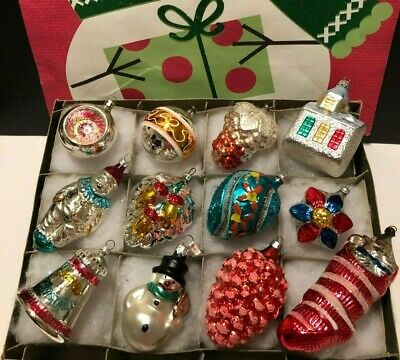 12 Antique German Vtg FIGURAL Blown GLASS Painted Xmas Ornaments 1940s BEAUTIFUL