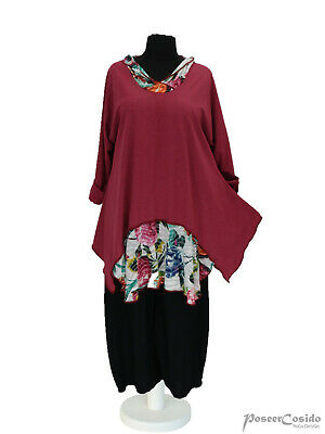 LAGENLOOK 2Look Tunika Long-Shirt /& Kapuze 44 46 48 50 52 54 56 58 L-XL-XXL-XXXL