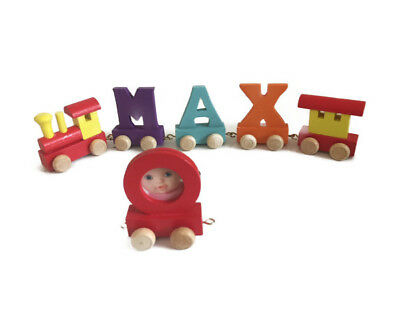 Baby Name Gift Colour Wooden Toy Train Letters for Personalised Baby Name Train
