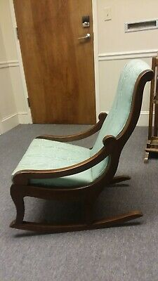 Antique Victorian Sage Green Upholstery Cushioned Nursing Rocking Chair Rocker