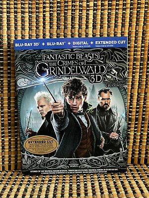 Fantastic Beasts 2: The Crimes of Grindelwald 3D (2-Disc Blu-ray,2019)+Slipcover