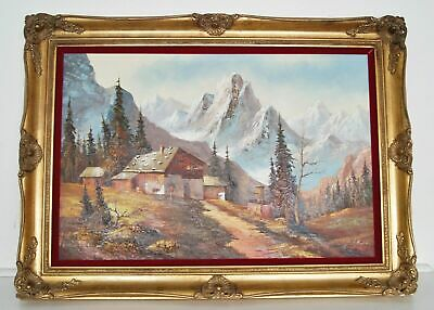 """Terry Webb """"Cabin in the Tetons"""" Oil Painting on Canvas Framed Art 43.5"""" x 32"""