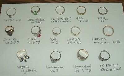 Lot of 14 vintage rings from auction lot all wearable most sterling silver